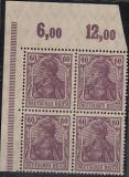 Deutsches Reich Mi.-Nr. 92 II b ** Eckrandviererblock gepr. BPP