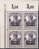 Deutsches Reich Mi.-Nr. 106 c Eckrandviererblock ** gepr.